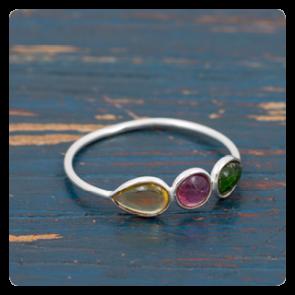 Мини сребърен пръстен с турмалин