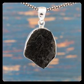 Сребърен медальон с черен турмалин