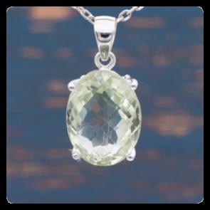 Сребърен медальон с фасетиран зелен аметист - празиолит