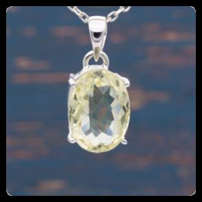 Сребърен медальон с фасетиран лимонов кварц