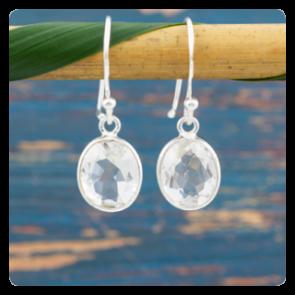 Мини сребърни обеци с планински кристал
