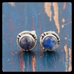 Мини сребърни обеци с лунен камък