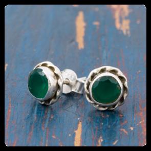 Мини сребърни обеци със зелен оникс