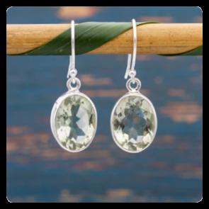 Сребърни обеци със зелен аметист - празиолит