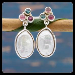 Сребърни обеци с барокова перла и турмалини