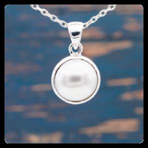 Сребърен медальон с перла