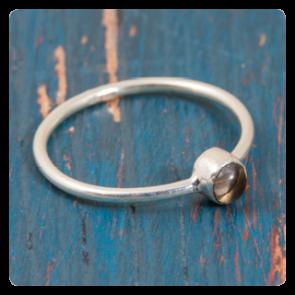 Мини сребърен пръстен с опушен кварц