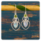Сребърни обеци с лунен камък и цитрин